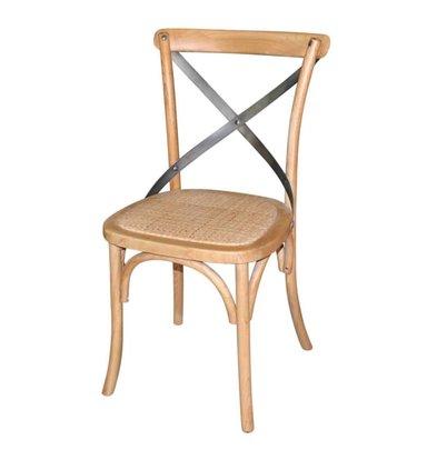 Bolero Houten stoel met gekruiste rugleuning - Natural - Prijs per 2 Stuks