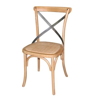 XXLselect Wooden chair with crossed back - Natural - Price per 2 pieces