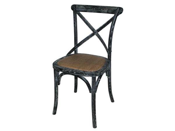 Bolero Houten stoel met gekruiste rugleuning - Black Wash - Prijs per 2 Stuks