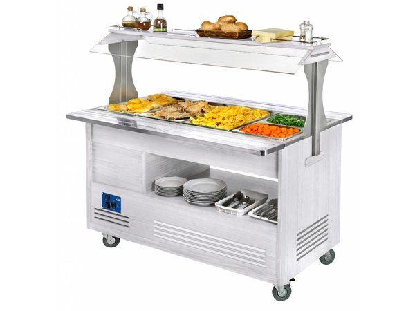 Diamond OUTLET Bain-Marie Chilled Salad-Buffet Bar | 4 x 1/1GN - White Wood