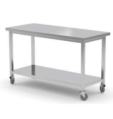 XXLselect Stainless steel workbench on wheels + Bottom Shelf | HEAVY DUTY | 1000 (b) x700 (d) mm | CHOICE OF 7 WIDTHS