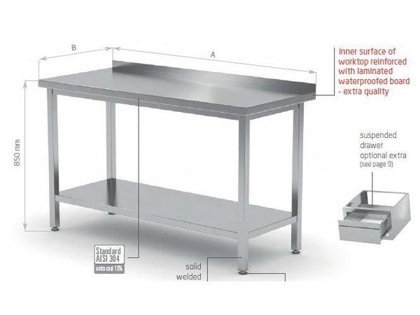 XXLselect RVS Werktafel + Bodemschap + Spatrand | HEAVY DUTY | 400(b)x600(d)mm| KEUZE UIT 16 BREEDTES