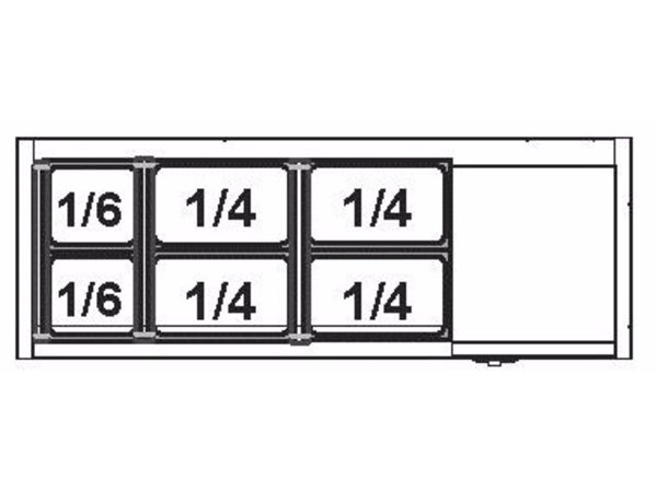 Afinox Afinox Vitrine   Opzetkoelvitrine 4 x 1/3  GN  L    +2°C / +7°C   VRS 1100/S GN 1/1 zonder glasopbouw