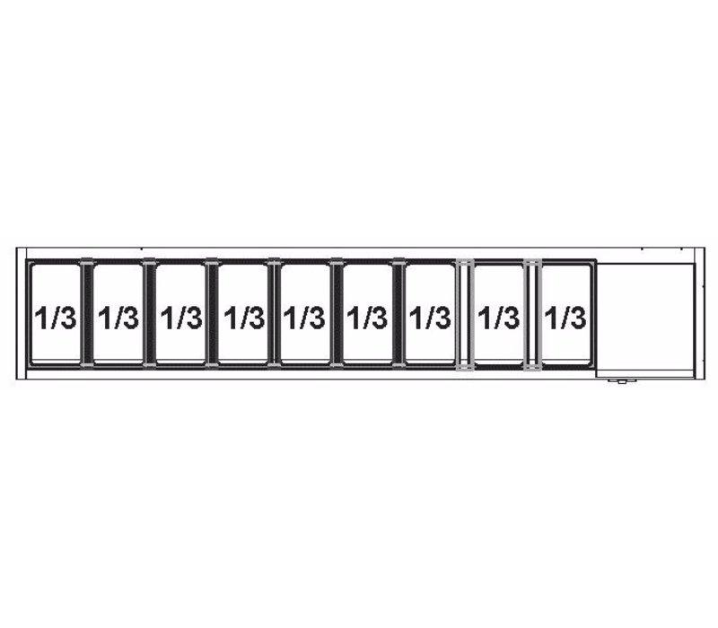 Afinox Afinox Vitrine   Opzetkoelvitrine 9 x 1/3 GN L    +2°C / +7°C   VRS 2005/S GN 1/1 RVS deksel