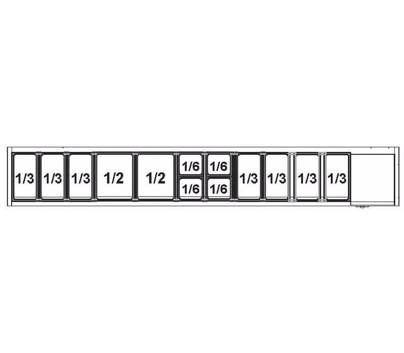 Afinox Afinox Vitrine | Opzetkoelvitrine 12 x 1/3 GN L | +2°C / +7°C | VRS 2560/S GN 1/1 met glasopbouw
