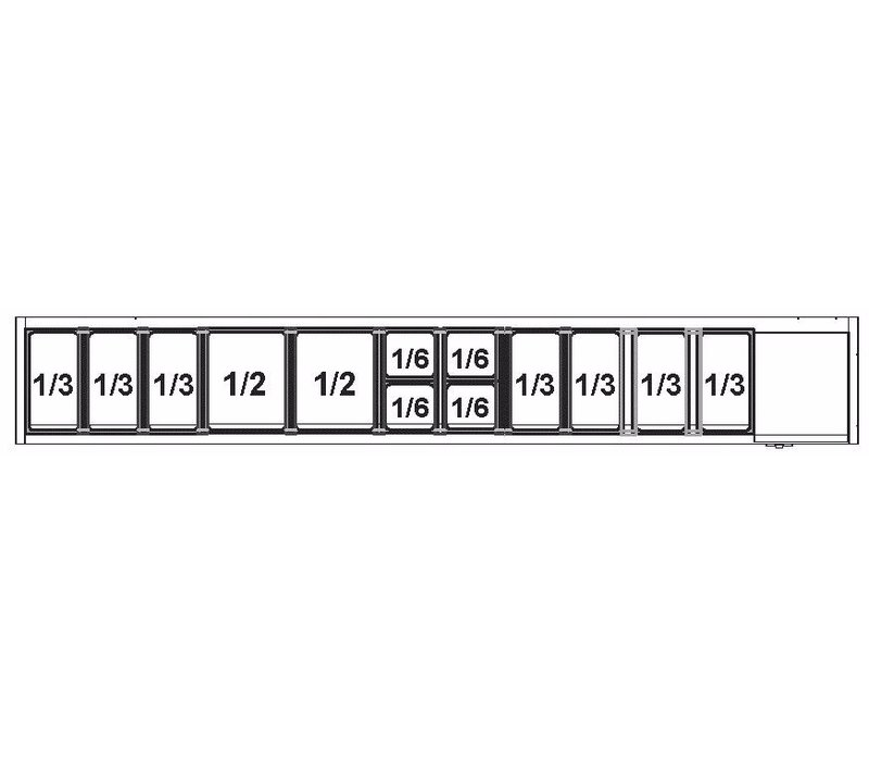 Afinox Afinox Vitrine   Opzetkoelvitrine 12 x 1/3 GN L    +2°C / +7°C   VRS 2560/S GN 1/1 RVS deksel