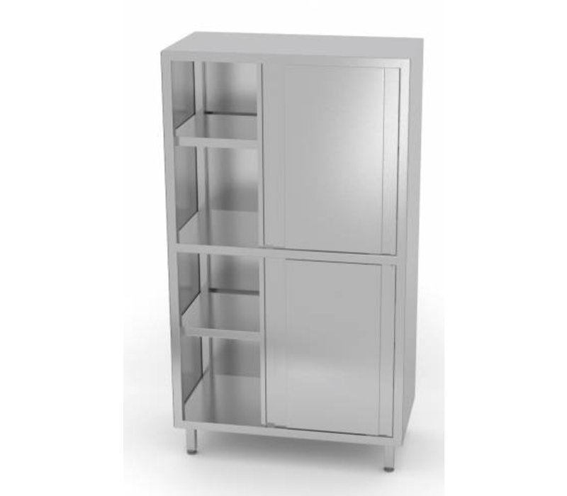 XXLselect Crockery Cupboard SS + 4 + 3 Sliding Shelves | HEAVY DUTY | 800x700x1800 (h) mm | CHOICE OF 5 WIDTHS