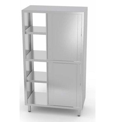 XXLselect Crockery Cupboard SS + 2 Doors + 3 Shelves | HEAVY DUTY | 800x700x2000 (h) mm | CHOICE OF 5 WIDTHS