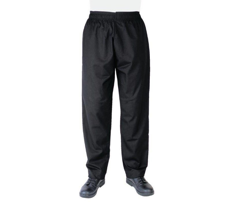 Whites Chefs Clothing Zwarte Koksbroek Vegas - Polyester / Katoen - Beschikbaar in 6 maten - Unisex - XXL AANBIEDING!