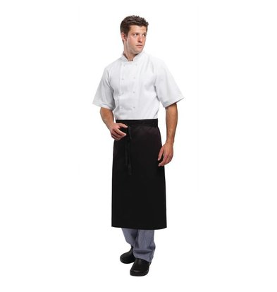 Whites Chefs Clothing Whites Catering Sloof - Fixed band - Long - 915 (B), 762mm (L) - Black - Unisex