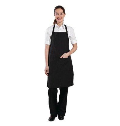 Chef Works Chefworks krijtstreep halterschort - 610(B) x 850(L) mm - Zwart - Unisex