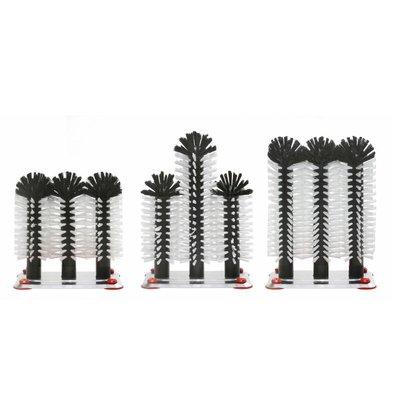 Bar Professional Spoelborstel aluminium voet 3-delig - 3x18cm