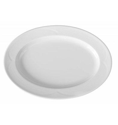 Hendi Schaal - Ovaal - Saturn - 340x240x35 mm - Wit - Porselein
