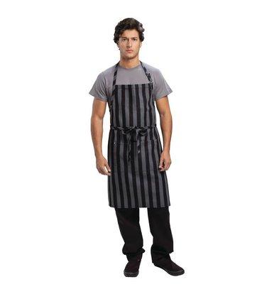 Chef Works Halterschort Verstelbaar - Krijtstrepen Grijs/Zwart - 76x86cm - Met zakje - Unisex