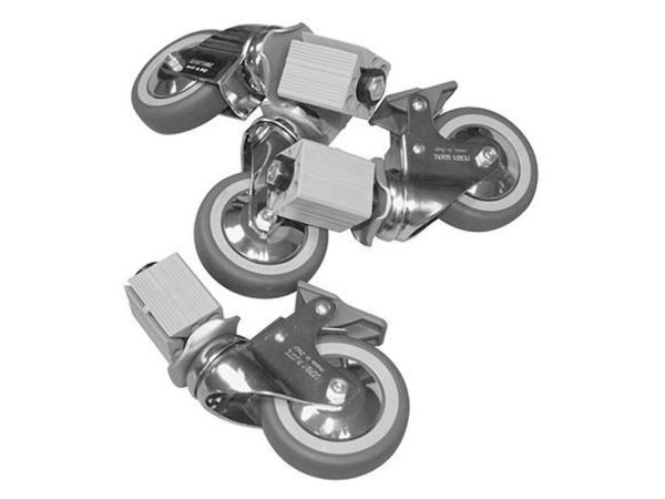 XXLselect Castor 4 Wheels - for all Worktables, Cabinets, Sinks - INCLUDING MOUNTING - ø100mm