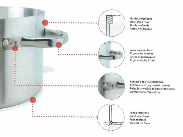 XXLselect Kookpan / Soeppan - Aluminium - Middelhoog met Deksel - 7 Liter - KEUZE UIT 7 MATEN