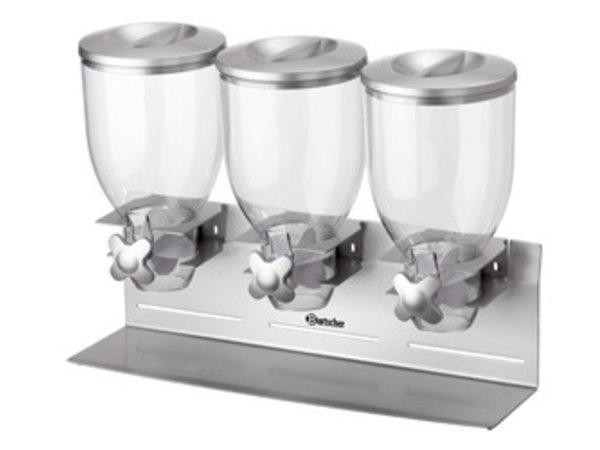 Bartscher 3-voudige Ontbijtgranendispenser | Inhoud 3,5 Liter | 540x170x(H)395mm