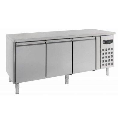 Combisteel Cool Workbench -Stainless steel - 3 door - 202x80x (h) 85cm - Schedules 600x400mm