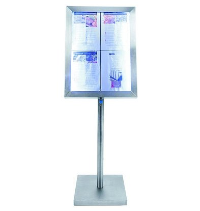 Securit Menu cabinet with LED lighting - stainless steel style - 4xA4 |