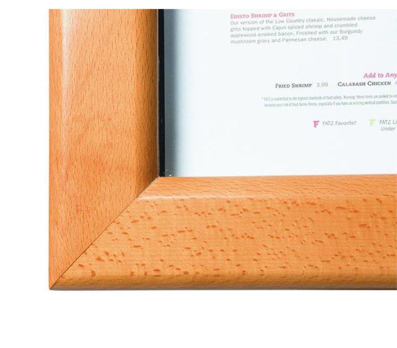 Securit Menukast met Ledverlichting - Houten Teak stijl - 4xA4
