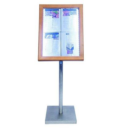 Securit Menu cabinet with LED lighting - Teak Wood Style - 4xA4