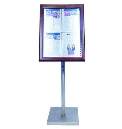Securit Menu cabinet with LED lighting - Wooden style Dark Brown - 4xA4