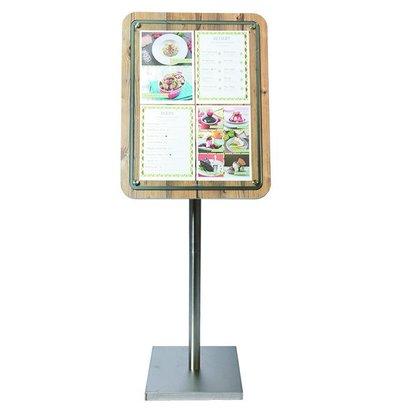 Securit Menukast met Glazen Plaat - Houten Oak stijl - 4xA4