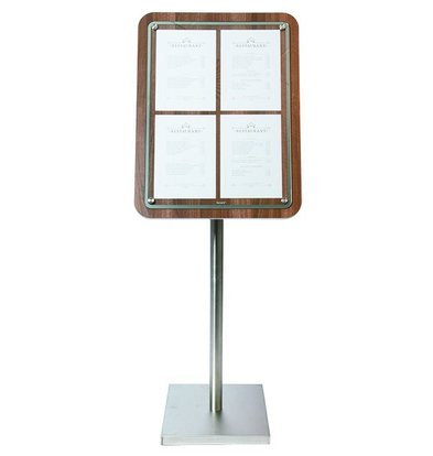 Securit Menukast met Glazen Plaat - Houten Walnut stijl - 4xA4