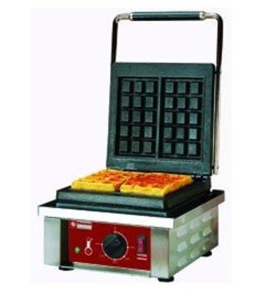 Diamond Wafelijzer voor Brusselse Wafels - met Thermostatische Regeling -305x440x(h)230mm - 1.5KW