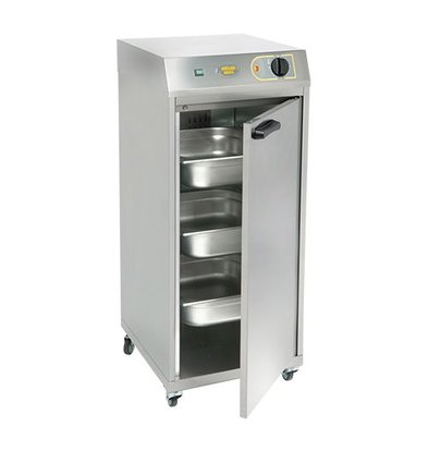 Roller Grill Double Food Holding Cabinet | Stainless steel | Movable | 2 / 3GN | + 130Cº | 35x40x (H) 73cm