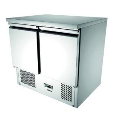 Bartscher Mini Cool Workbench 900T2 | 2 Doors | Air-cooled | 260 Liter | 900x700x (H) 870mm