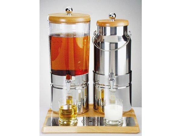 APS FSE Sap / Melk dispenser met 1 Koelelement | Houten stijl | 6+5 Liter met Aftapkraan | 420x350x(h)520 mm