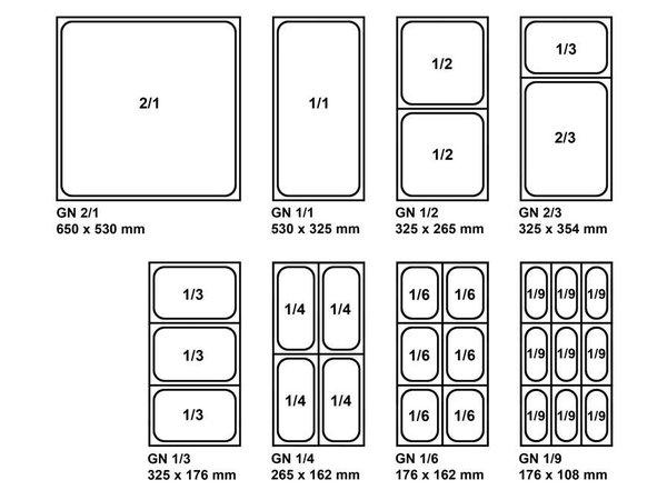 Bartscher GN-bakken, versterkte rand - bakblik 1/2 - GN, 20 mm, CNS 18/10 | 325x265mm