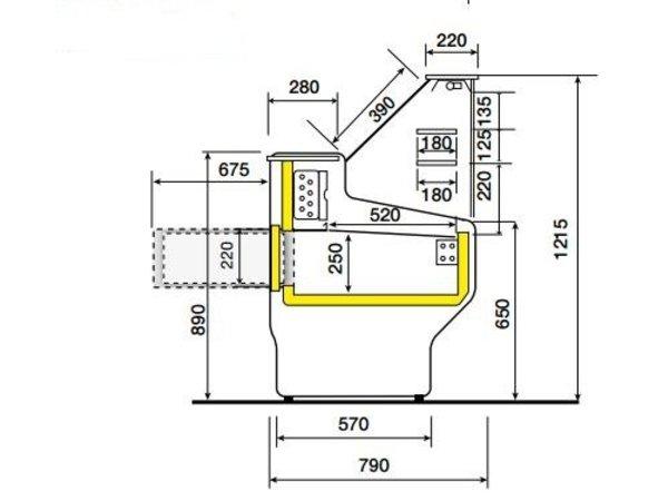 Diamond Vitrine Toonbank | Werkblad in Graniet | Gekoeld +4° / +6° | Rechtruit | 2500x800x(H)1220mm