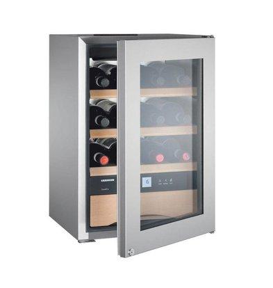 Liebherr Wijnbewaarkast RVS | 12 Flessen en Wijnbestek/Chocolade La | Liebherr | 56 Liter | WKes 653 | 43x48x(h)51cm