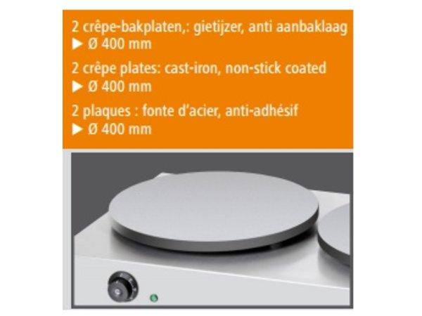 Bartscher Crepes Bakplaat Dubbel | Professioneel / Elektrisch | 2 x 3000W / 230V | 40 cm diameter