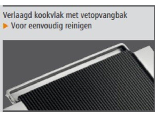 Bartscher Ceran Grillplaat Geribbeld | RVS Behuizing | Incl. Ceran-schraper | 640x365x(H)63mm