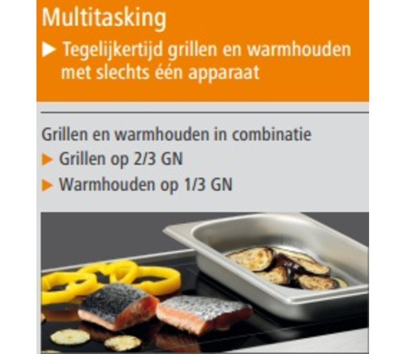 Bartscher Ceran Grillplaat en Warmhoudplaat | Grillen en Warmhouden | RVS | Met Grepen | 600x415x(H)86mm