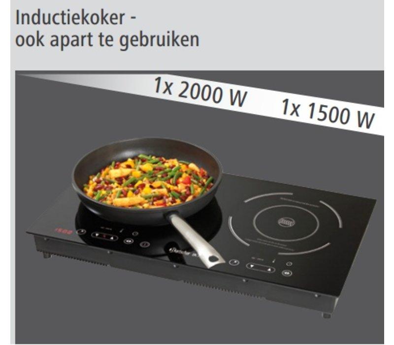 Bartscher Inductie-serveerwagen IKTS 35 - 92x60x(h)94 - 500 - 2000 W/500 - 1500W - 230V