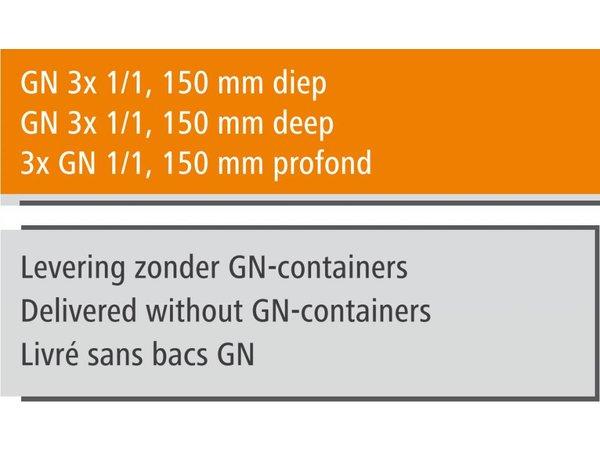 Bartscher Gastro Buffet T - Saladebar 3 x GN 1/1, 150 mm diep