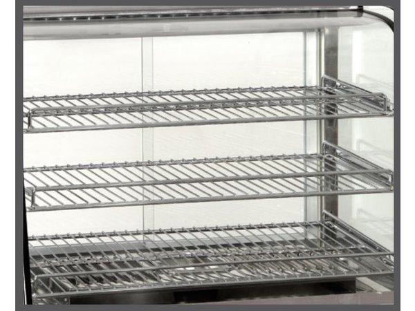 Bartscher Warmhoudvitrine RVS - 3 Roosters - 2 Schuifruiten - 120 Liter - LED Verlichting - 690x600x670(h)mm