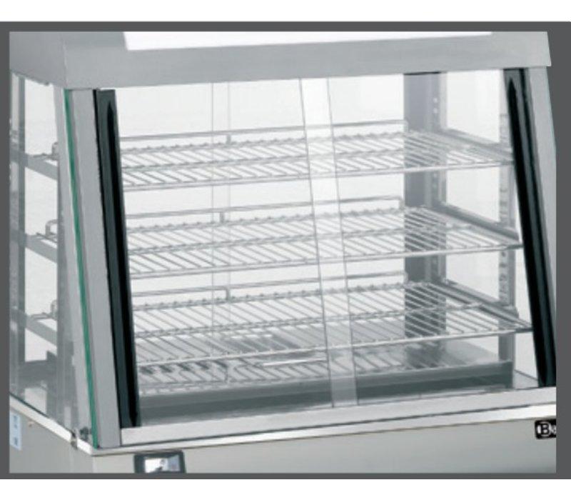 Bartscher Warmhoudvitrine RVS - 3 Roosters - Voor-en Achterzijde Schuifruiten - 110L - 660x437x(h)655mm