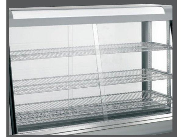 Bartscher Warmhoudvitrine RVS - 3 Roosters - Voor en Achterzijde Schuifruiten - 373 Liter - 1200x480x(h)810mm