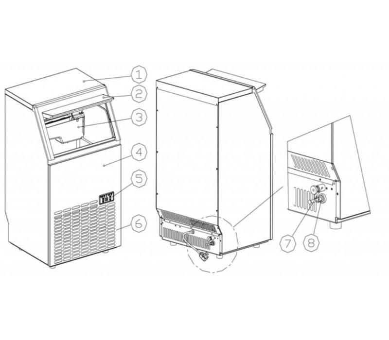 Hendi IJsblokjesmachine 35 kg/24 uur - 15kg bunker - Luchtgekoeld inspuitsysteem - Vierkante Blokjes