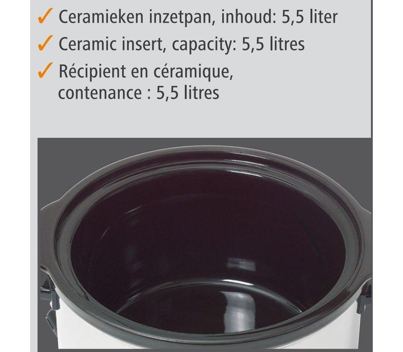 Bartscher Slowcooker Rond + inzetpan van Keramiek - 5,5 liter