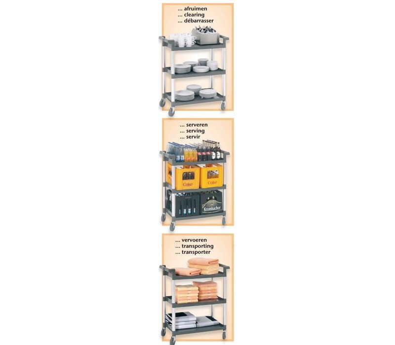 Bartscher Serveerwagen - 3 bladen - 830x415x(h)940mm - 120Kg