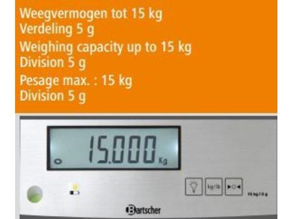 Bartscher Elektronische Keukenweegschaal - Max. 15 kg - weergave vanaf 5 gr