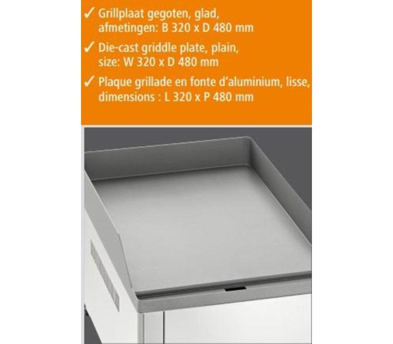 Bartscher Elektrische Grillplaat - Gietijzer/Glad - 32x54x(h)29cm - 3kW