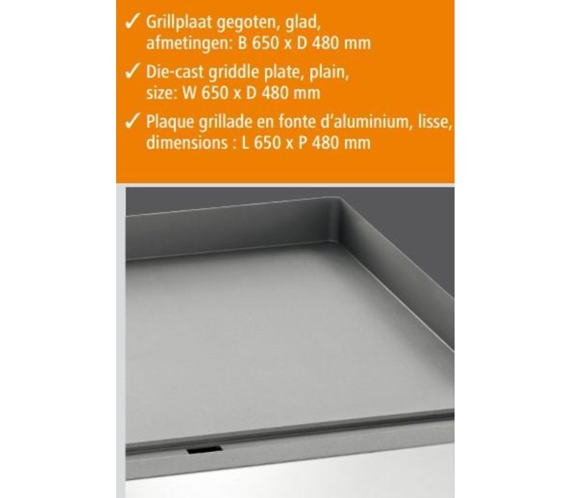 Bartscher Elektrische grillplaat - Gietijzer/Glad - 66x48x(h)29cm - 6kW