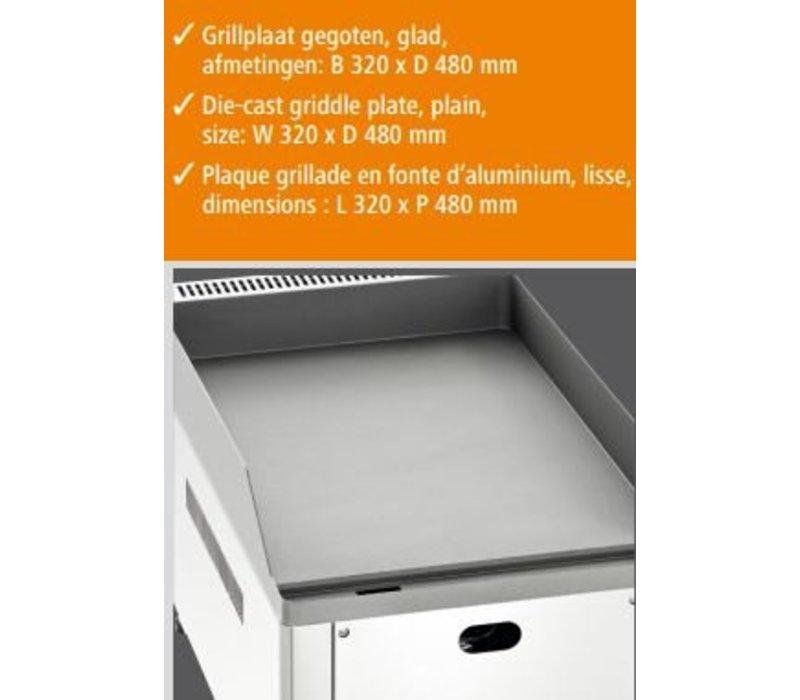 Bartscher Gas Grillplaat - Gietijzer/glad - 32,5x60x(H)29,5 cm - 4 Kw